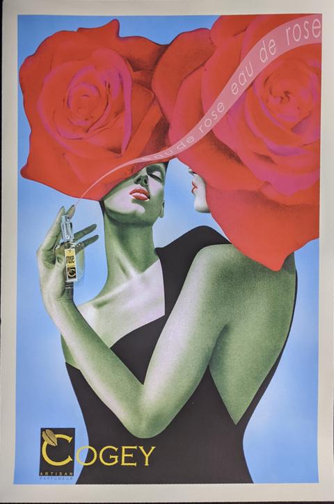 Cogey eau de rose parfum poster, unframed, 91cm x 61cm