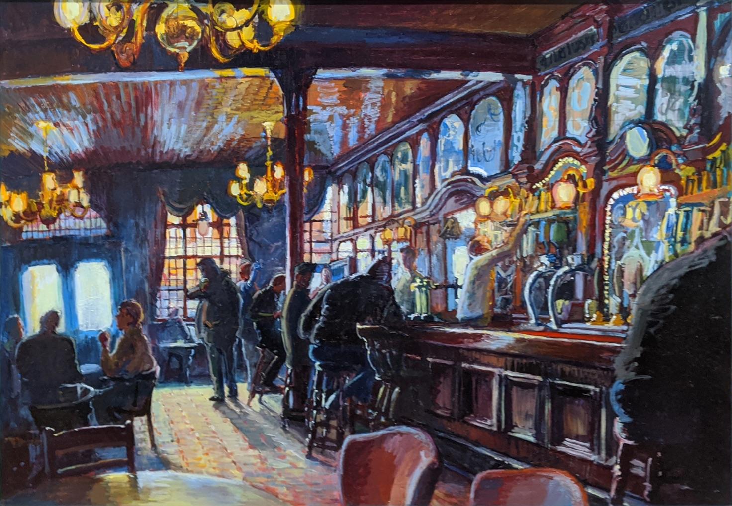 Gary Jeffrey (Contemporary British), The Spread Eagle Pub, Wandsworth, oil on board, H.66cm W.86.5cm
