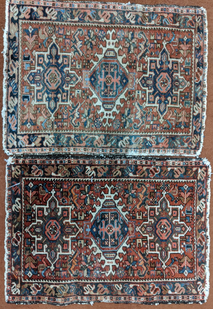 A pair of red ground prayer rugs, 80cm x 59cm (each)