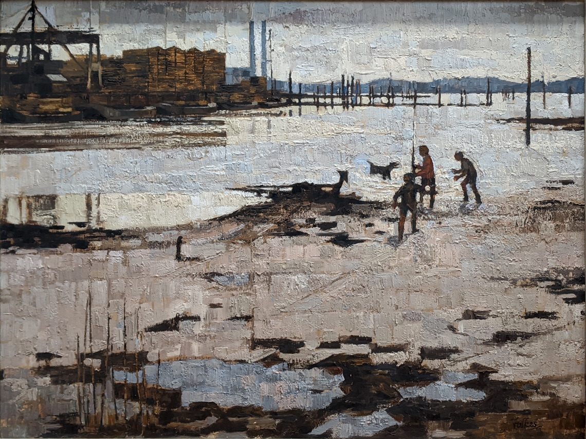 Peter Folkes (British, b.1923), Low Tide at Redbridge, oil on board, signed lower right, remnants of