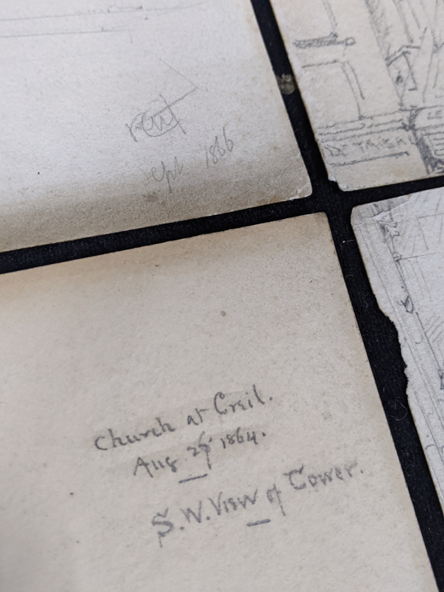 A collection of 19th century pencil drawings of churches, French and English, each titled, largest - Image 3 of 7