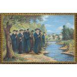 20th century Continental School, Tashlich, Rabbi and Community Praying at the River, oil on