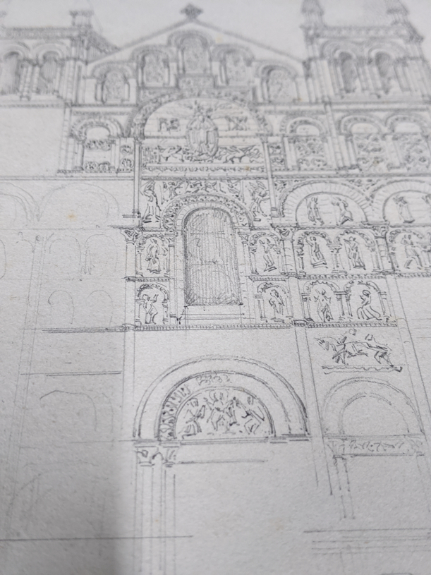 A collection of 19th century pencil drawings of churches, French and English, each titled, largest - Image 6 of 7