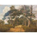 Circle of William Marlow (1740-1813), Shepherd herding sheep, oil on card mounted on board,