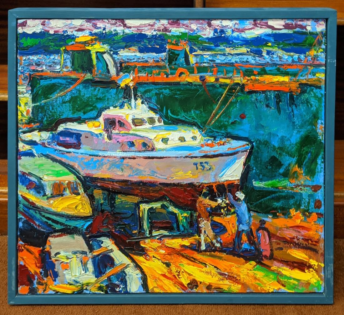 Andriy Chebotaru (b.1982, Ukrainian), Impressionist dockyard scene, oil on canvas, signed in pen - Image 2 of 3