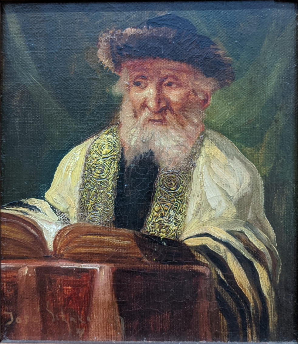Jose Schneider (American/Spanish, 1848-1893), Rabbi Studying and Rabbi, oils on canvas, both - Image 5 of 7