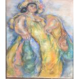 Madge Tennant (British/American, 1889-1972), Lei Woman in Yellow, pastel, annotated in pencil to