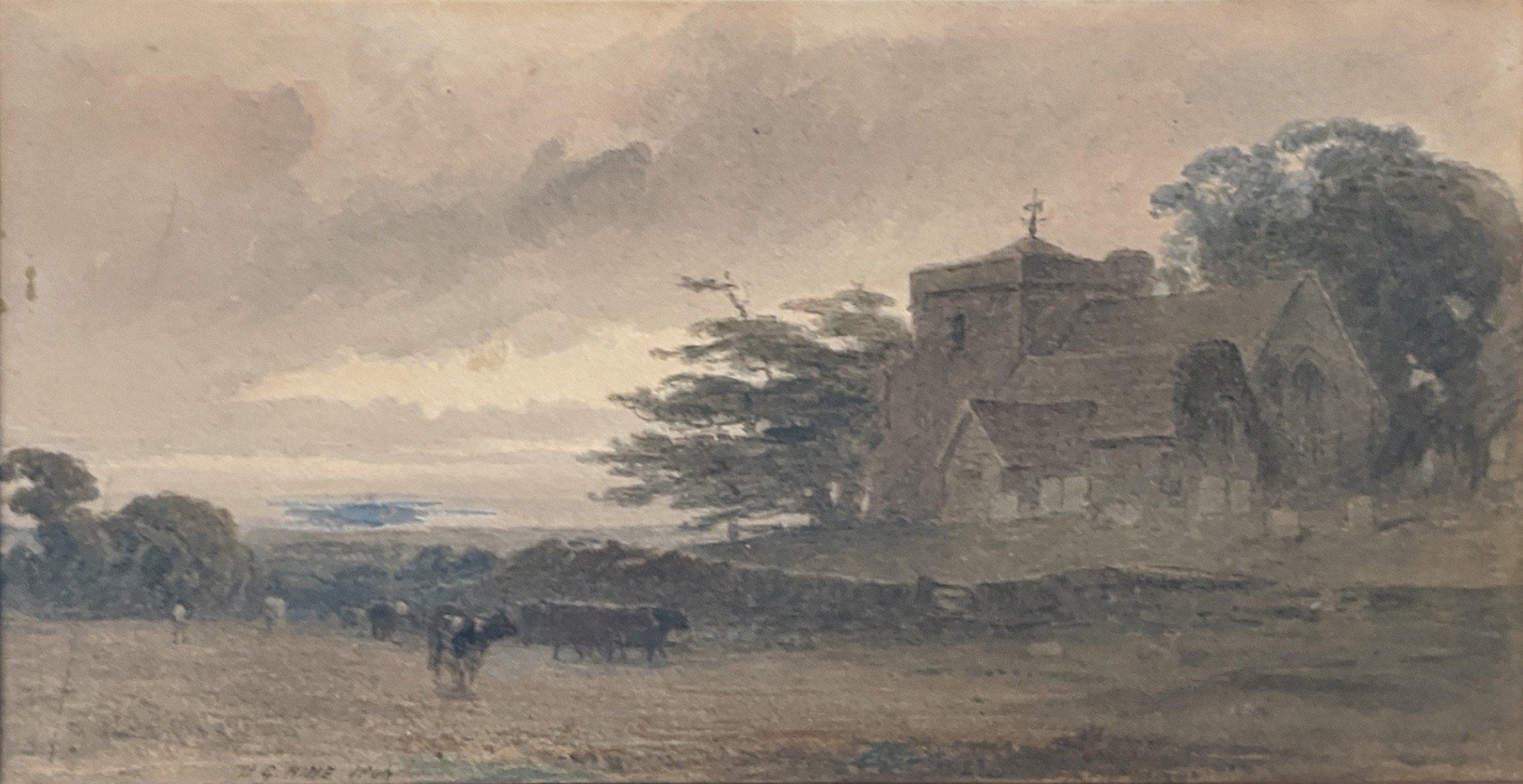 Henry George Hine (British, 1811-1895), A Sussex Church Scene, watercolour, siged lower left H.G.