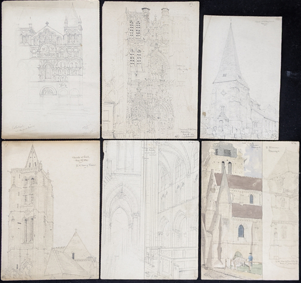 A collection of 19th century pencil drawings of churches, French and English, each titled, largest