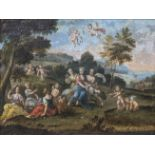 18th century Continental School, Cherubs playing in a park, oil on canvas, H.37cm W.52cm