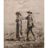 Jean Francois Millet (French, 1814-1875), Le Depart Pour Le Travail, etching, signed within the