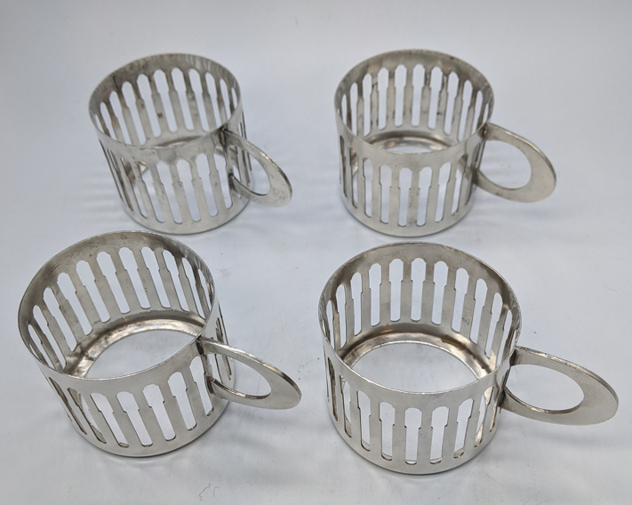 A set of four Israeli silver tea cup holders, each marked to base, 230g