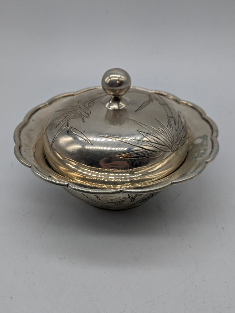 A Chinese silver bowl and cover, etched bamboo decor, 250g, D.13cm