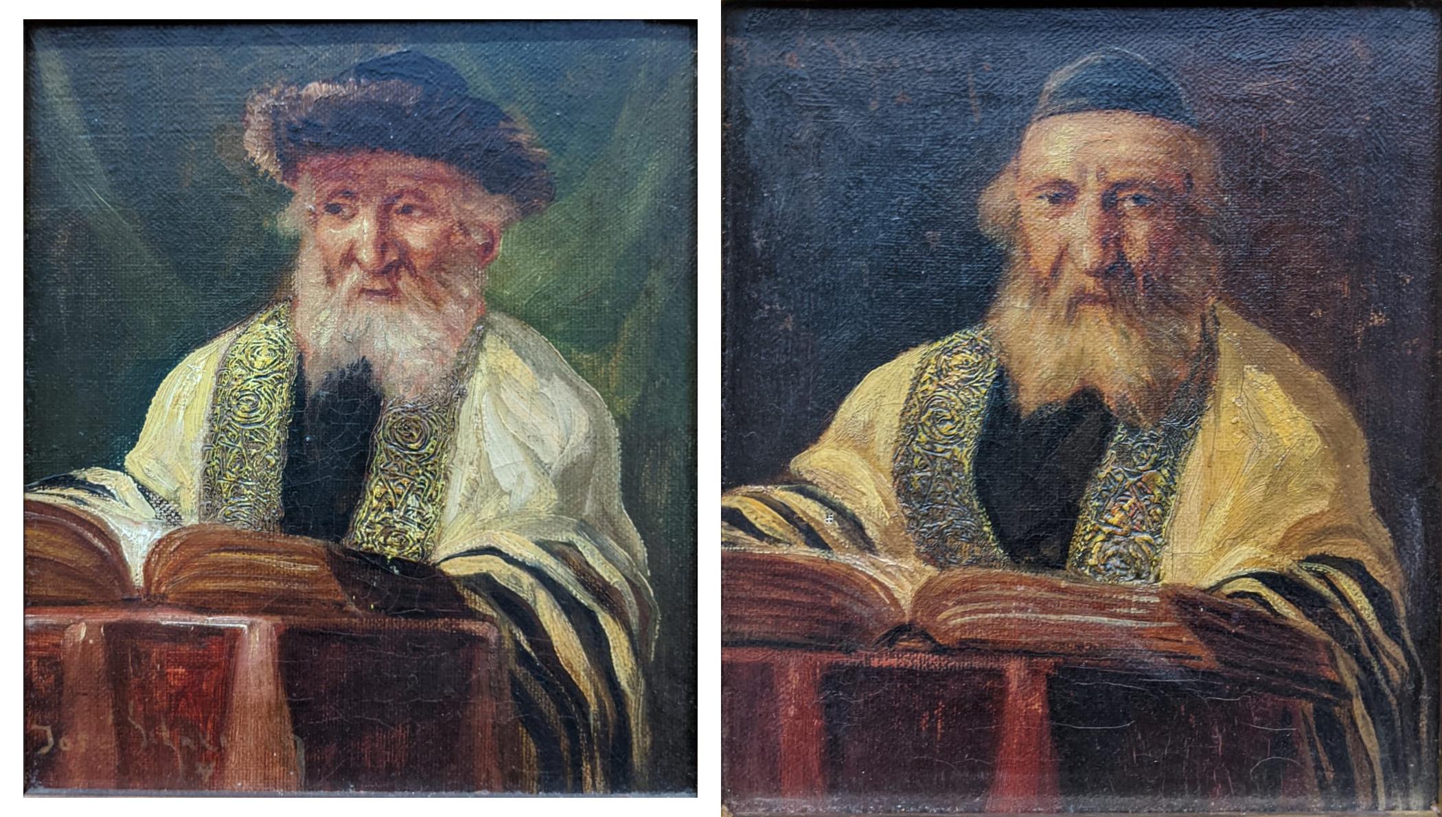 Jose Schneider (American/Spanish, 1848-1893), Rabbi Studying and Rabbi, oils on canvas, both