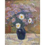 20th century Ukrainian School, still life of flowers, oil on canvas, signed lower right, 49cm x