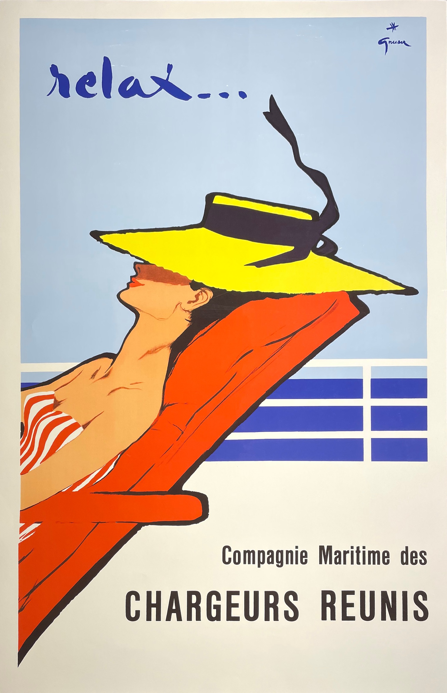 After Rene Grau, Compagnie Maritime de Chargeurs reunis; relax … lithographic poster, 91cm x 61cm