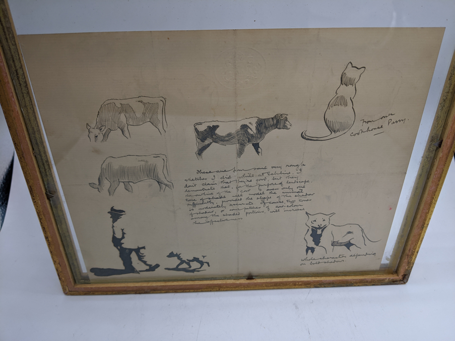 A late 19th/early 20th century study of pen drawings, double sides, cows and cats, crest blindstamp, - Image 3 of 3