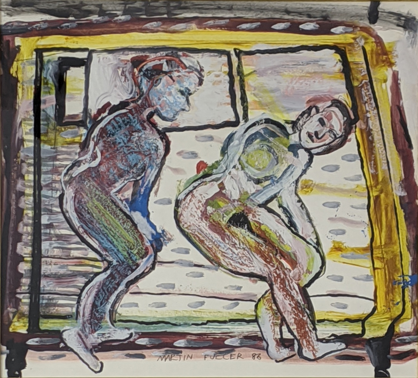 Martin Fuller (b.1943), two nudes, mixed media on paper, signed in pen and dated 83 to lower middle,