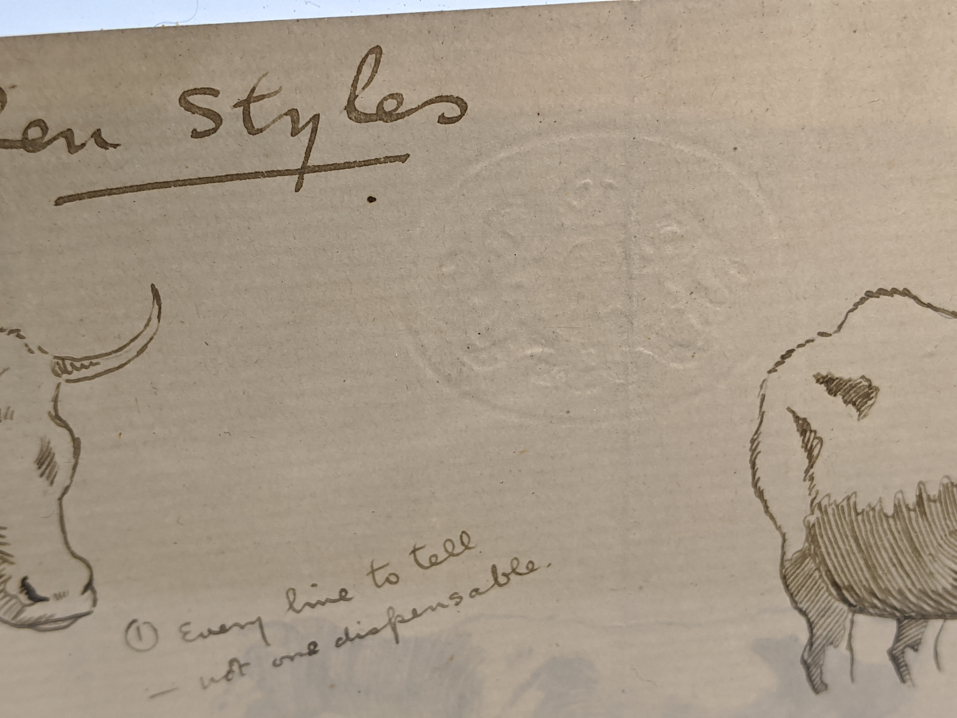 A late 19th/early 20th century study of pen drawings, double sides, cows and cats, crest blindstamp, - Image 2 of 3