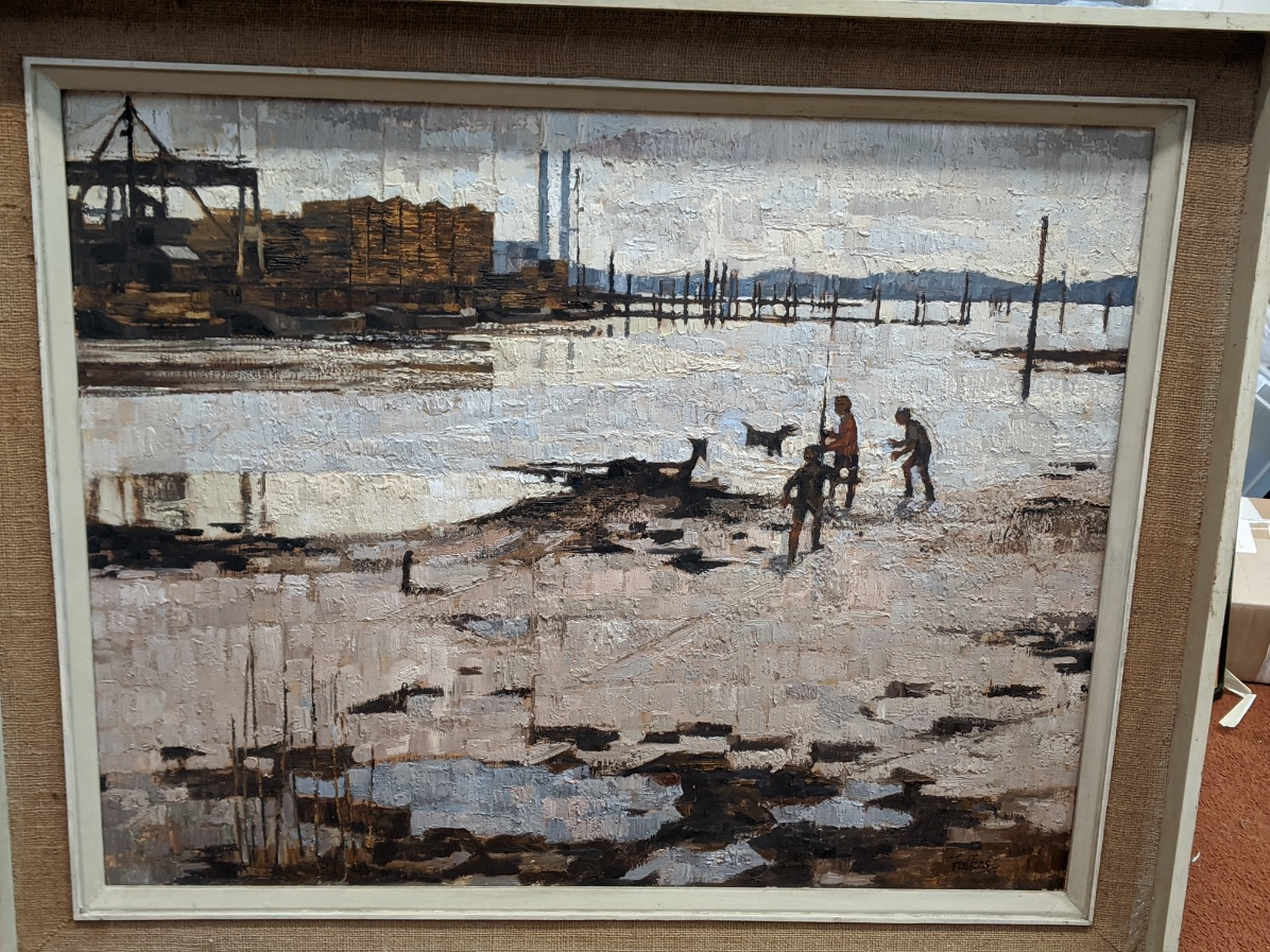 Peter Folkes (British, b.1923), Low Tide at Redbridge, oil on board, signed lower right, remnants of - Image 4 of 4