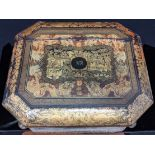 A late 18th/early 19th century Chinese export lacquered gaming box, raised on stand,
