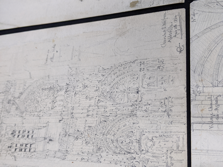 A collection of 19th century pencil drawings of churches, French and English, each titled, largest - Image 7 of 7