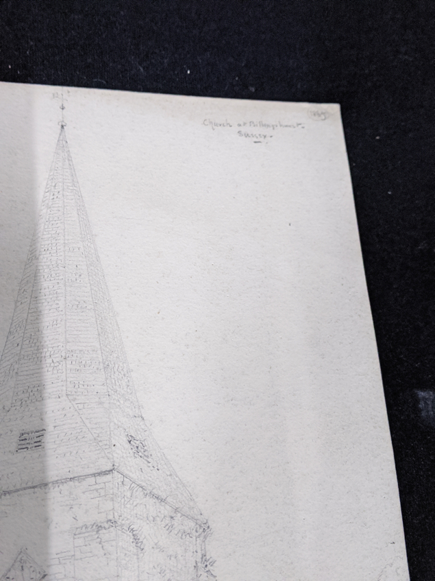 A collection of 19th century pencil drawings of churches, French and English, each titled, largest - Image 5 of 7