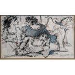 Ray Wooldridge (b.1934), figural scene, acrylic on paper, signed in pencil, H.24cm W.32cm ARR