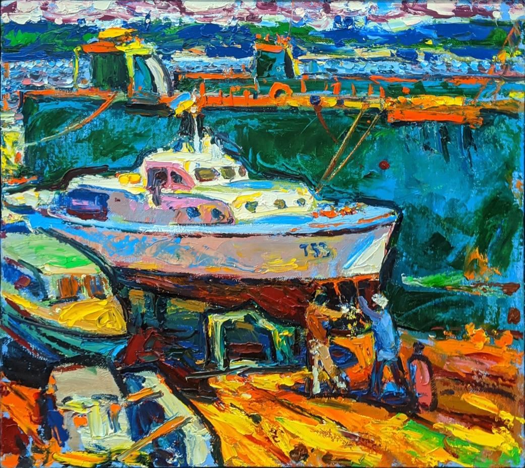 Andriy Chebotaru (b.1982, Ukrainian), Impressionist dockyard scene, oil on canvas, signed in pen