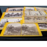 A collection of late 19th/early 20th century photographic stereocards, scenes including the Garden