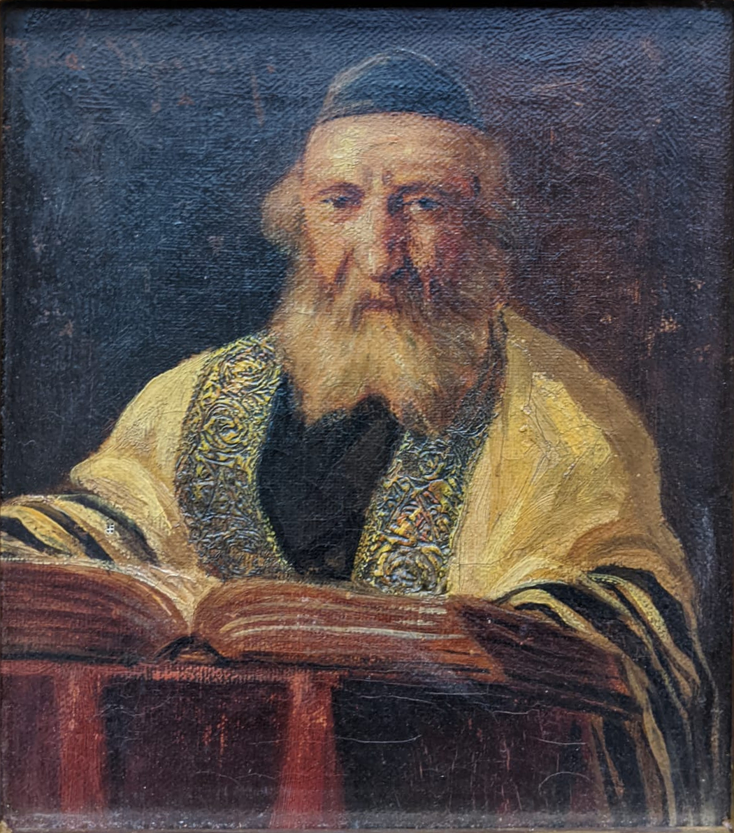 Jose Schneider (American/Spanish, 1848-1893), Rabbi Studying and Rabbi, oils on canvas, both - Image 4 of 7