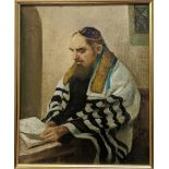 Alfred Aaron Wolmark (British, 1877-1961), Rabbi Studying, 1910, oil on panel, signed lower right,