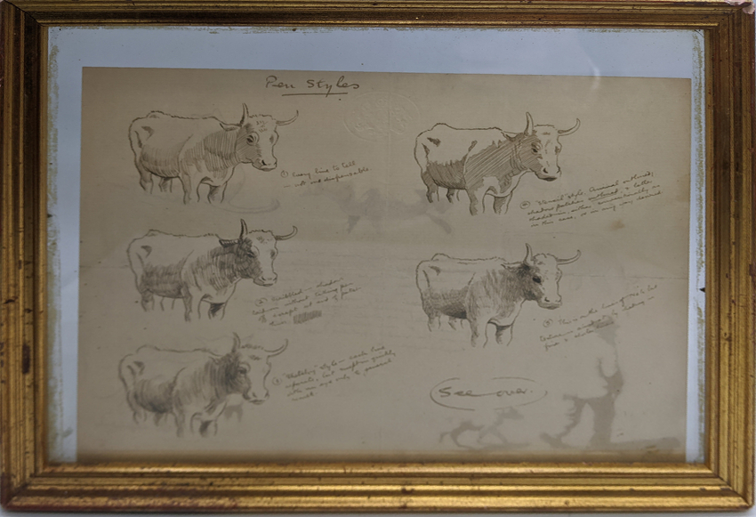 A late 19th/early 20th century study of pen drawings, double sides, cows and cats, crest blindstamp,
