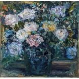 Che Newton Woof (20th century British school), Moon Flowers, oil on board, signed lower left,