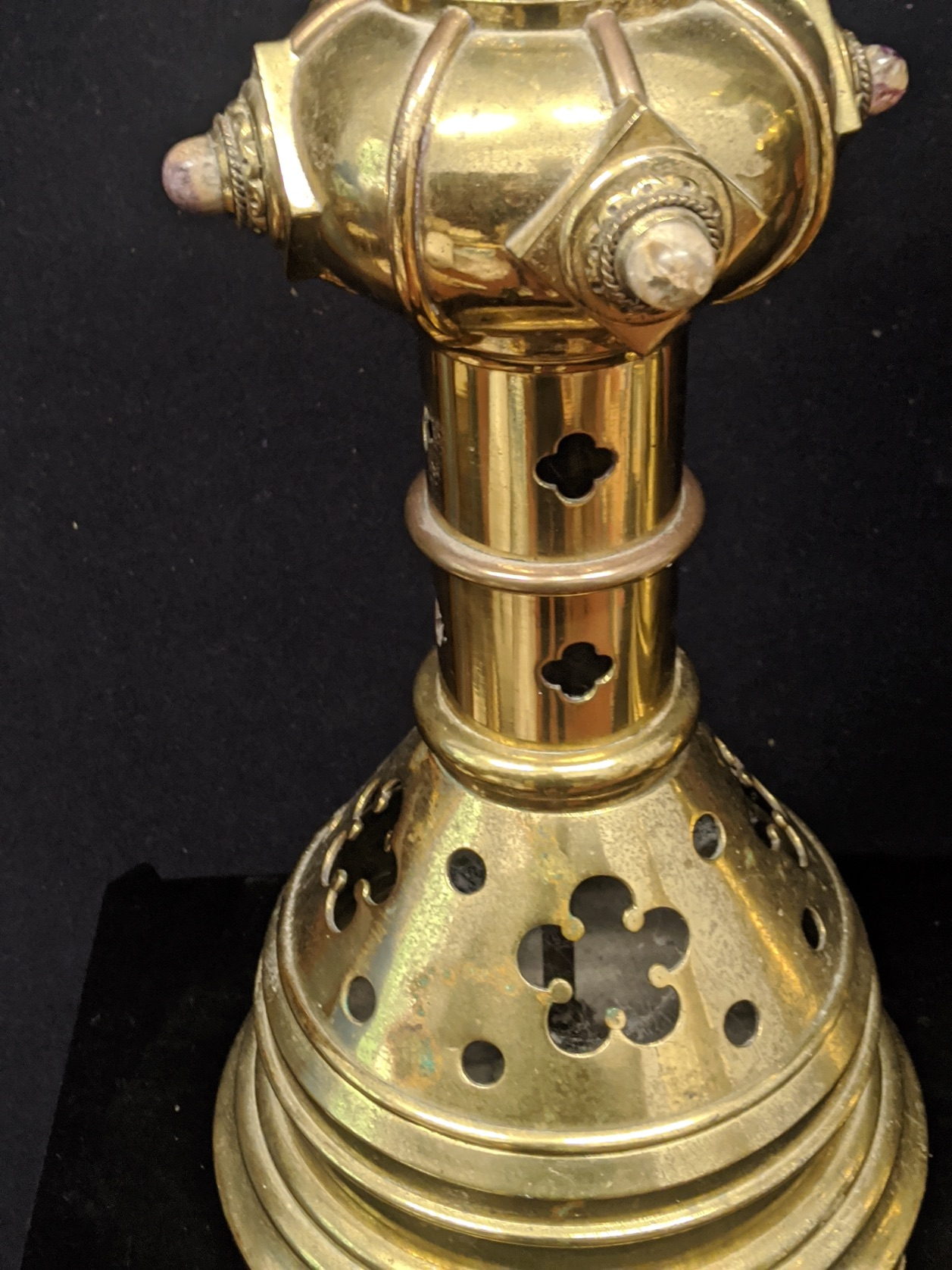 A pair of Gothic Revival brass candlesticks, mounted with stones, circa late 19th century, H.61cm - Image 2 of 4
