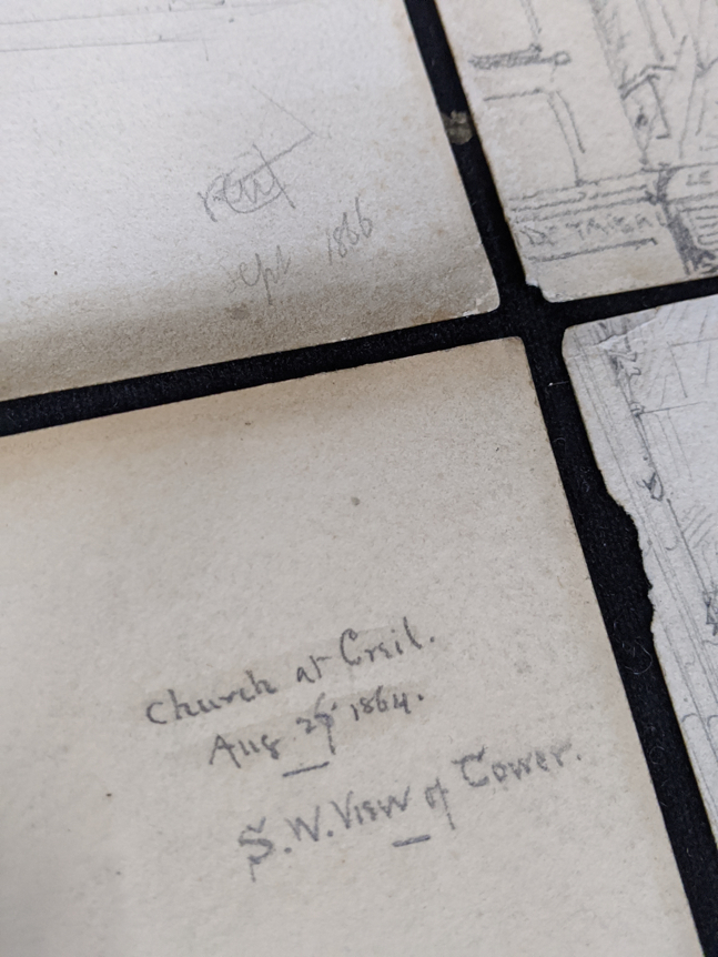 A collection of 19th century pencil drawings of churches, French and English, each titled, largest - Image 2 of 7