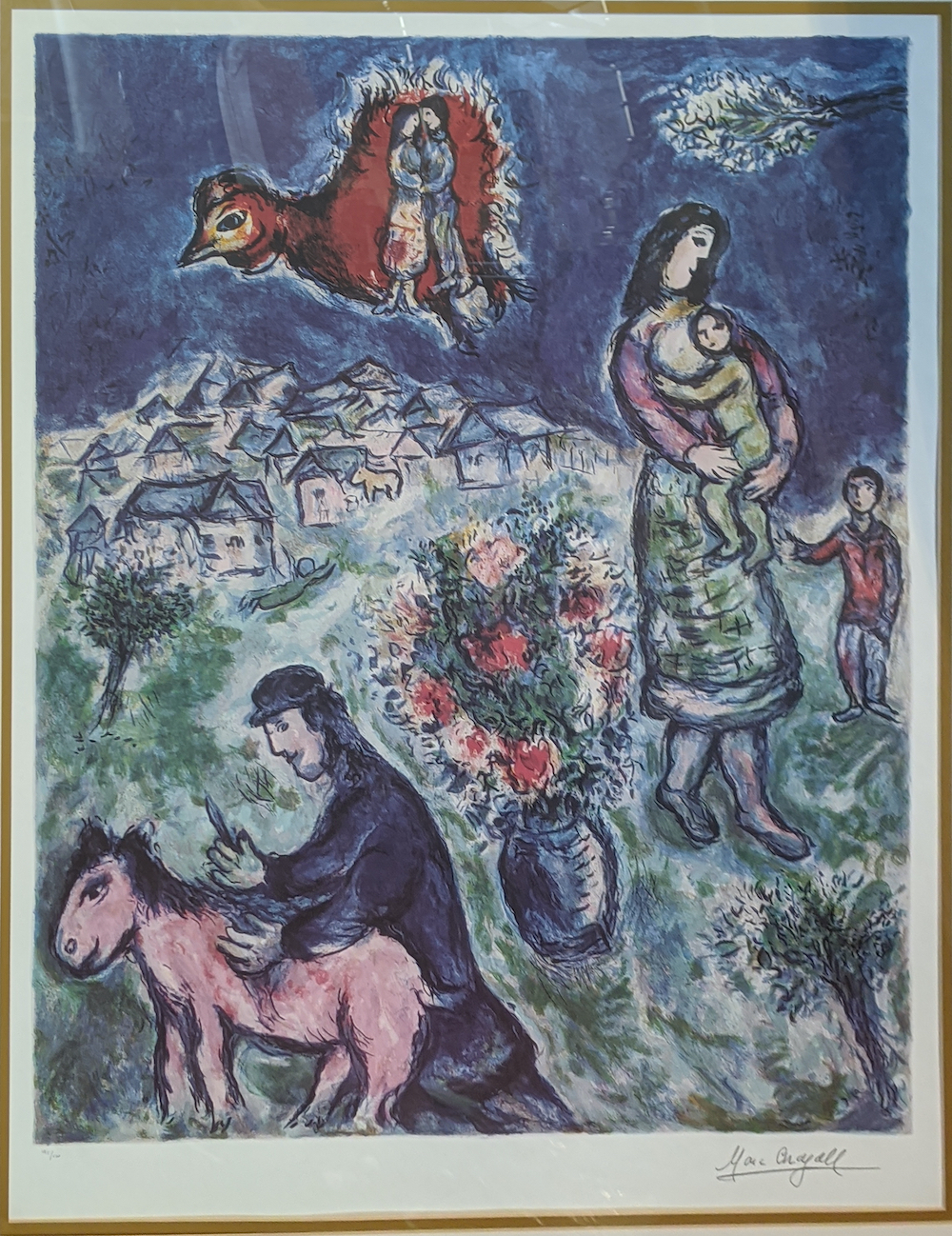 After Marc Chagall (1887-1985), Sur La Route Du Village, lithographic print, signature within print,