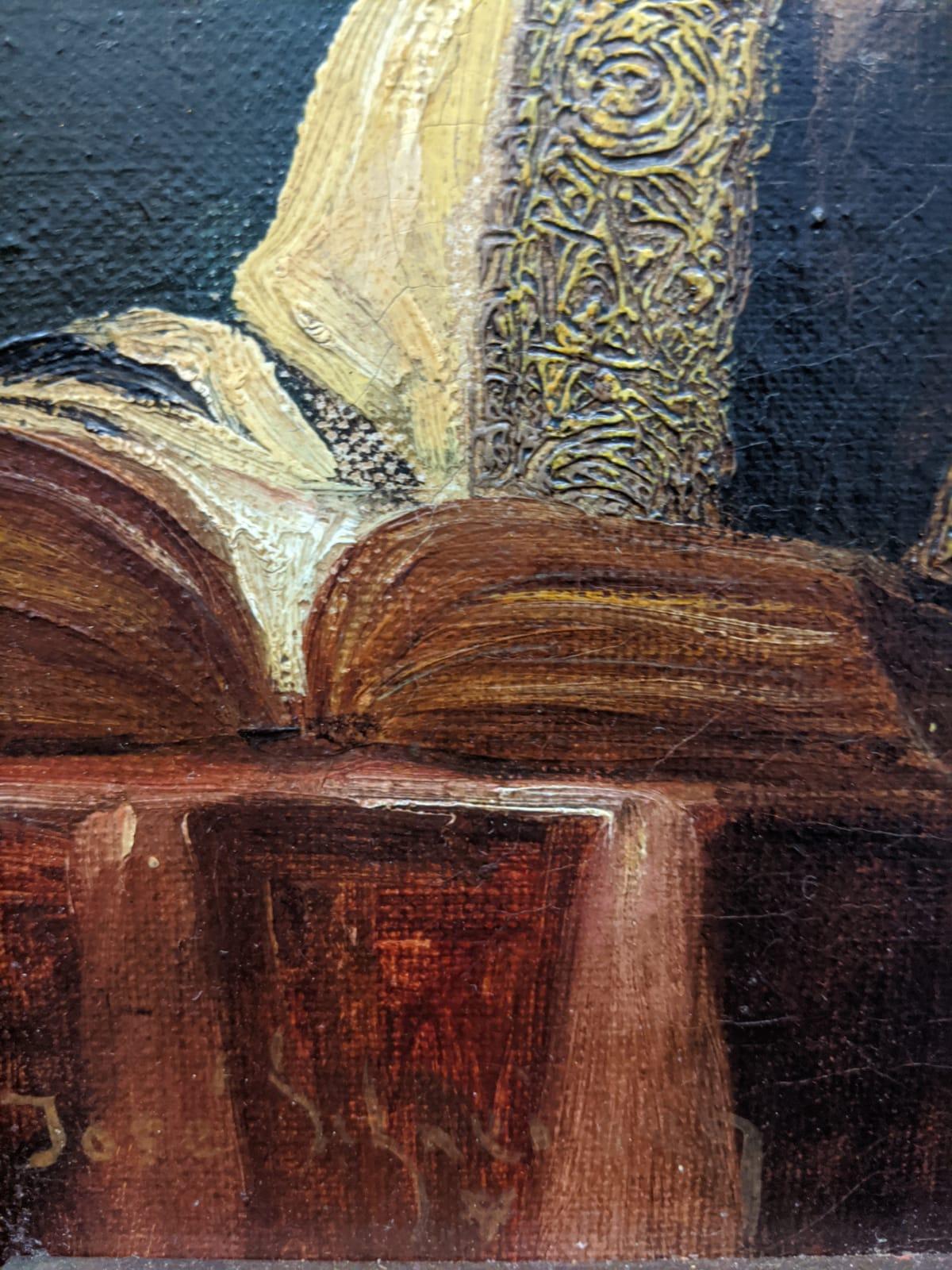 Jose Schneider (American/Spanish, 1848-1893), Rabbi Studying and Rabbi, oils on canvas, both - Image 7 of 7
