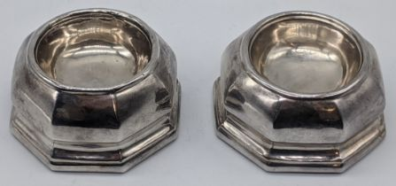 A pair of Queen Anne silver octagonal trencher salts, London 1713-14, maker mark CO, possibly