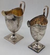 A George III cream jug, etched decor and vacant cartouche, hallmarked London, 1799, maker William