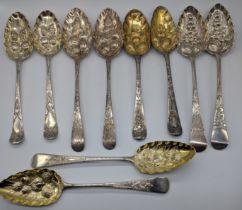 5 pairs of Georgian silver berry spoons, London hallmarks, 605g
