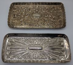 Hunt & Roskell Late Storr Mortimer Victorian silver tray, embossed, central monogram, hallmarked