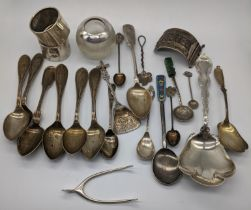 A collection of silverware, various marks, total silver weight approx. 450g