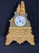 A 19th century ormolu mantel clock, figural surmount, 8 day movement, H.30cm