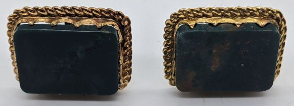 A pair of 14ct gold cufflinks, mounted with bloodstone, total weight 12.5g, 2cm x 2.5cm