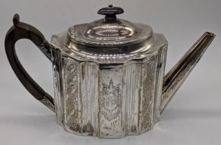 A George III silver teapot, etched decoration of acorns, monogrammed, hallmarked London,