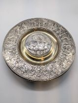 An Elkington & Co. Neo-Classical silver plated ink well, glass liner, D.19cm