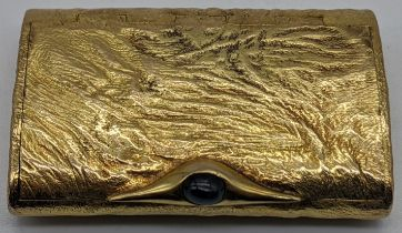 A Dunhill 9ct gold box, mounted with Sapphire thumb piece, hallmarks to the interior body and