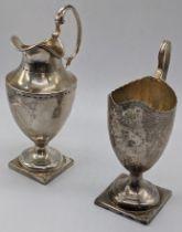 2 George IV silver cream jugs/ sauce boats, hallmarked London, 1828, maker John & Henry Lias, and