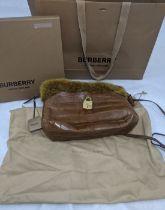 Burberry The Little Crush handag, alligator body with gold mink fur trim and gilt metal hardware,